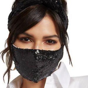 Black Sequin Face Mask Set